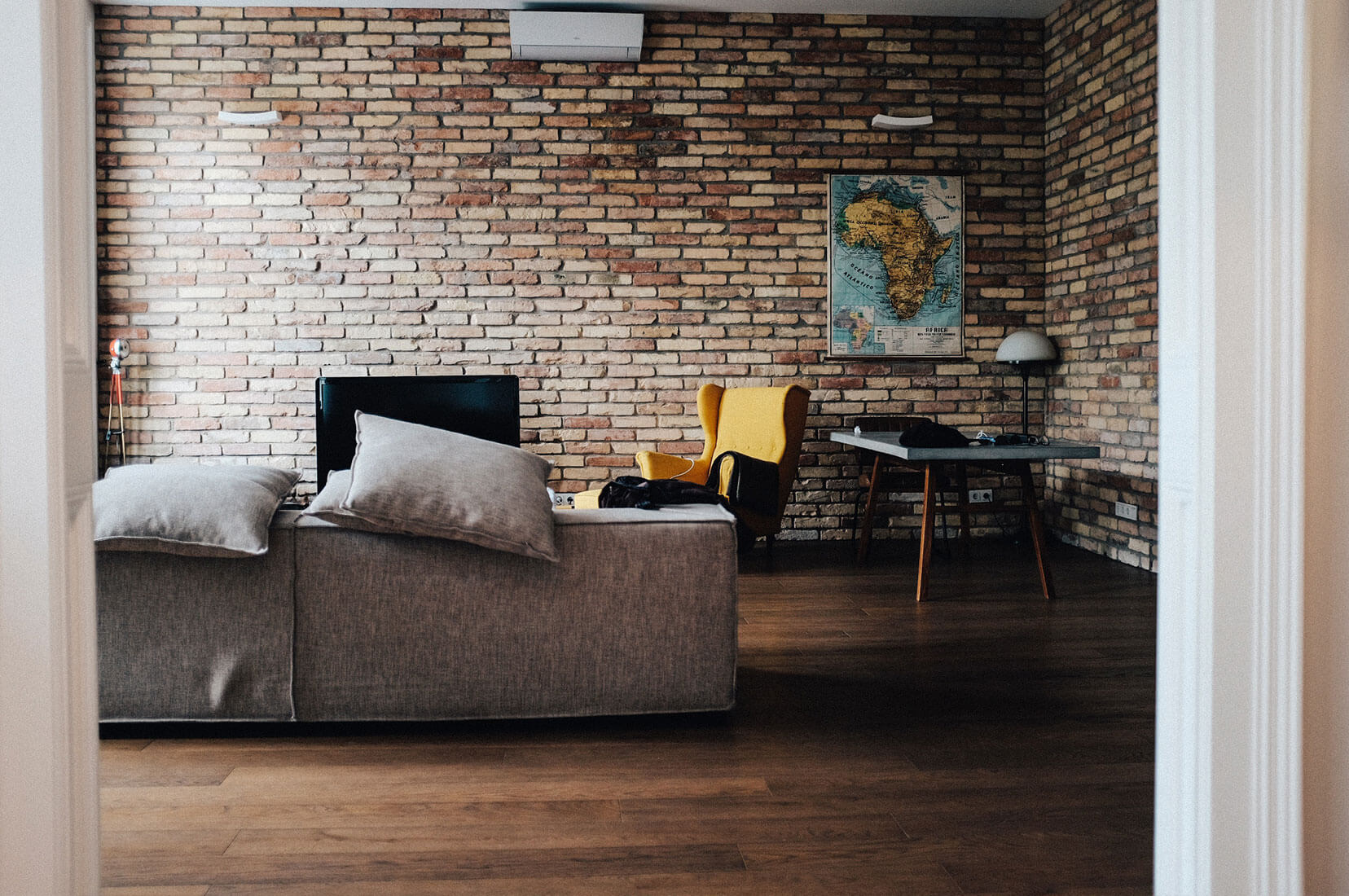 Architectural Design in living room open brick wall