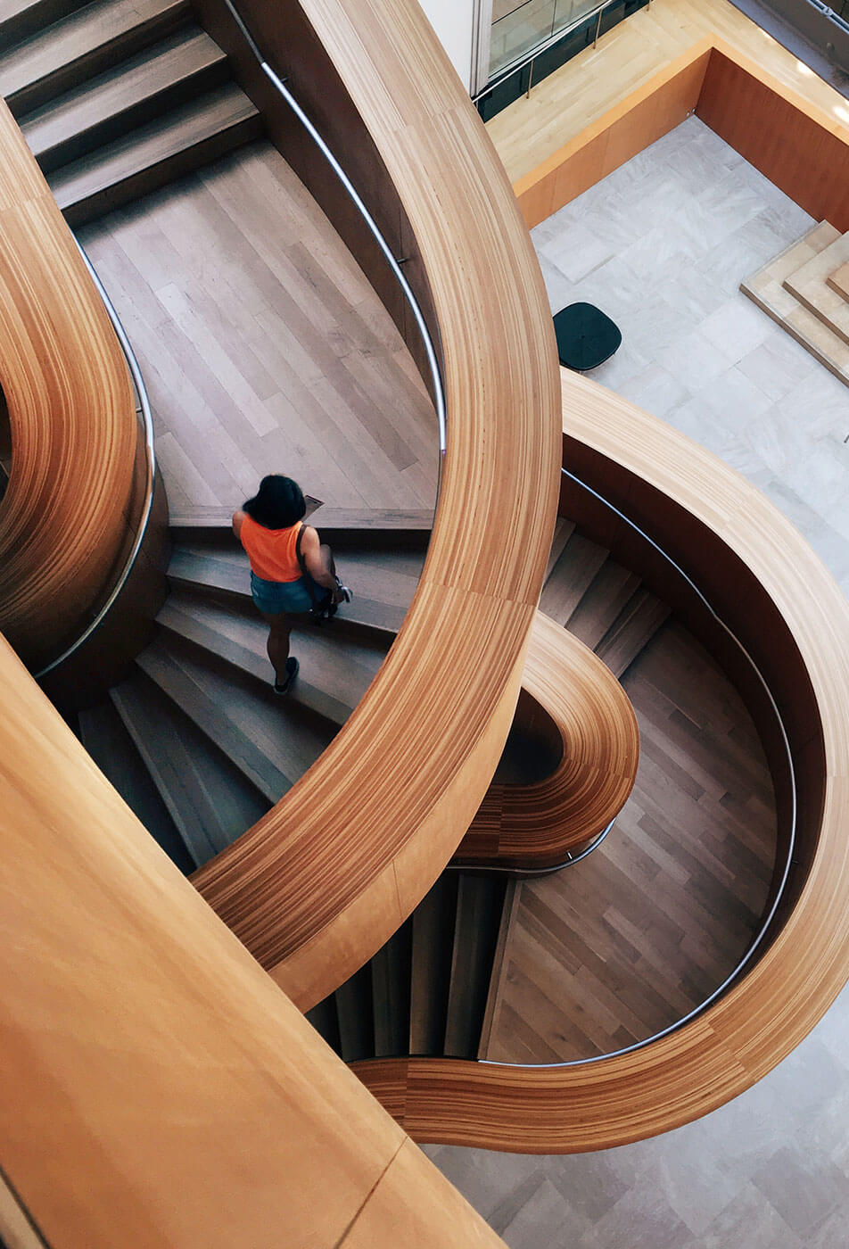 winding wooden staircase design and access