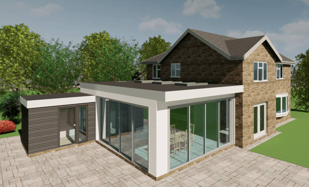 3d colour image open plan kitchen extension with tall sliding doors