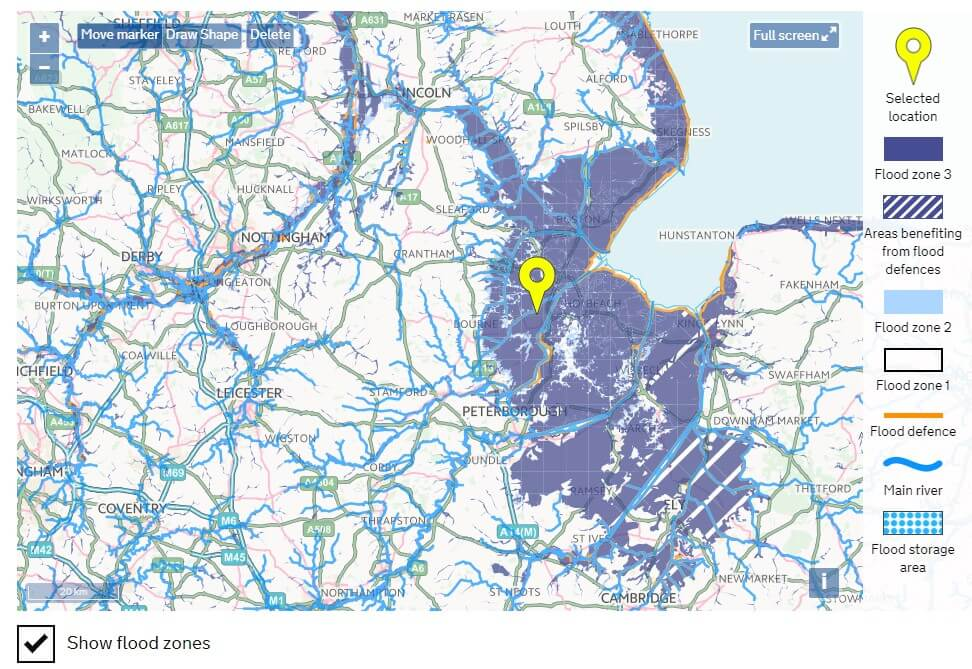flood zones throughout south lincolnshire and surrounding counties