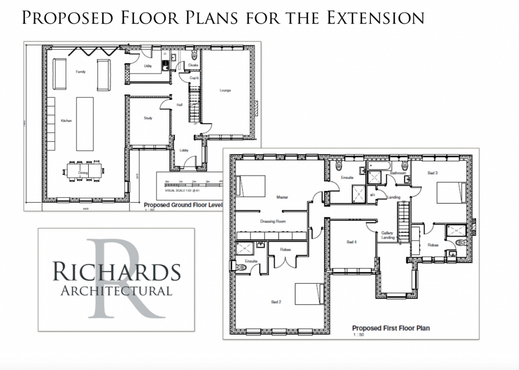 proposed floor plans for the extension of house near stamford